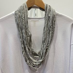 Cotton infinity Scarf Necklace with Chains